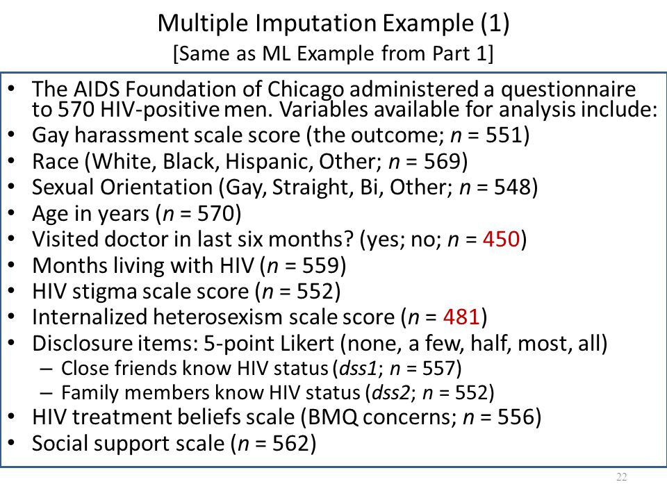 Multiple Imputation Example (1) [Same as ML Example from Part 1]